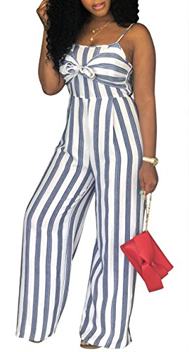 SheKiss Women Sexy Spaghetti Strap Striped Tie Bowknot Long Pants Palazzo Jumpsuits Rompers Ladies Outfits Grey, 2XL