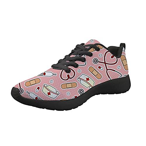HUGS IDEA Zapatillas de deporte para hombre sin cordones para correr, gimnasio, copo de nieve, perro, enfermera, flor, Gorro de enfermera rosa, 41 EU