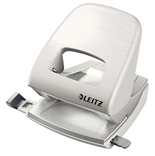 Leitz NeXXt Bürolocher, 30 Blatt, Anschlagschiene mit Formatangaben, Metall, Arktik Weiß, Style Serie, 50060004