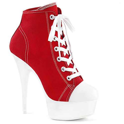 Higher-Heels PleaserUSA Damen Neon Booties Delight-600SK rot Gr.40