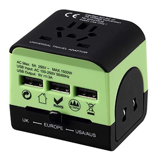 QWZ Adaptador de Poder de Viaje Universal, Todo el Mundo, Todo en una Carga rápida 3 Puertos USB Adaptador de Enchufe de Viaje para Europa EE. UU. EEUU Reino Unido UE AUS & Asia (Color : Green)