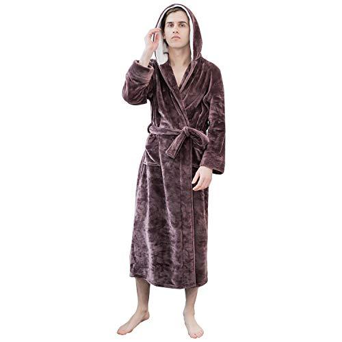 Roupão feminino de pelúcia macio com capuz da Lveberw – Roupão de banho longo quente de lã sherpa grosso para homens, grávidas, roupa de dormir, Marrom, XL