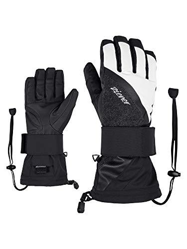 Ziener Damen Milana AS Snowboard-Handschuhe/Wintersport | Wasserdicht, Atmungsaktiv, Black.White, 7.5