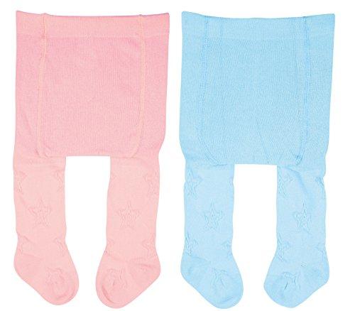 Vitasox Vitasox 26021 Jungen Mädchen Erstlingsstrumpfhose Strumpfhose für Neugeborene einfarbig 1xhellblau 1xrosé 50/56