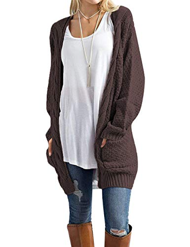 U.Vomade Womens Long Sweaters Cardigans Boyfriend Open Front Cable Knit Brown XL