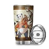 Facbalaign Tazza con segno di animali, a doppia parete, in acciaio inossidabile, con coperchio, 600 ml, colore: bianco