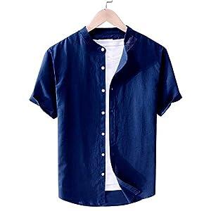 メンズ シャツ 柔らかい 無地 綿麻リネン スリムフィット 綿麻シャツ 長袖 半袖 春 夏 秋 トップス カジュアルシャツ