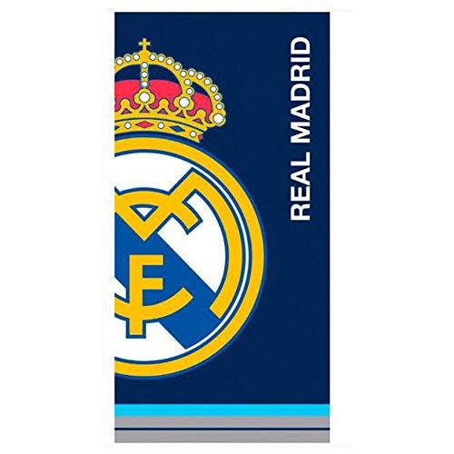 Real Madrid CF - Toalla Playa Azul con Escudo Real Madrid 70 x 140 cm.