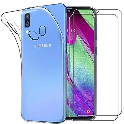 Yoowei para Samsung Galaxy A40 Funda + [2-Pack] Cristal Templado, Transparente Suave Delgado TPU Silicona Carcasa con 2 Unidades Protector de Pantalla de Vidrio Templado para Samsung Galaxy A40