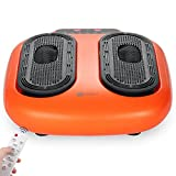 Kanff Electric Foot Circulation Massager Vibrator with Rotating Acupressure Heads & Remote for Multi Relaxations and Pain Relief, Orange