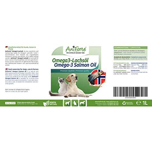 AniForte Omega-3 Lachsöl 1 Liter für Hunde, Katzen und Pferde, Kaltgepresst, Reich an EPA, DHA und ALA Fettsäuren, Natur Pur, Barf Ergänzung - 5