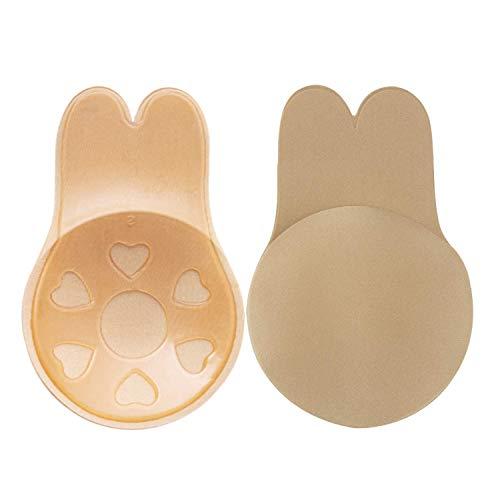 CtopoGo 1 Stück Klebe Push Up BH Nipple Cover - Trägerloser Rückenfrei Unsichtbar BH Selbstklebender BH für Abendkleider Ballkleider Brautkleide (L (passt für C/D/E Cup), Beige)