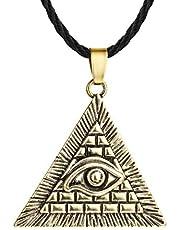 AILUOR Ojo de Oro de la joyería Horus Mal de Ojo Illuminati Antiguo Encanto Pendiente Ajustable