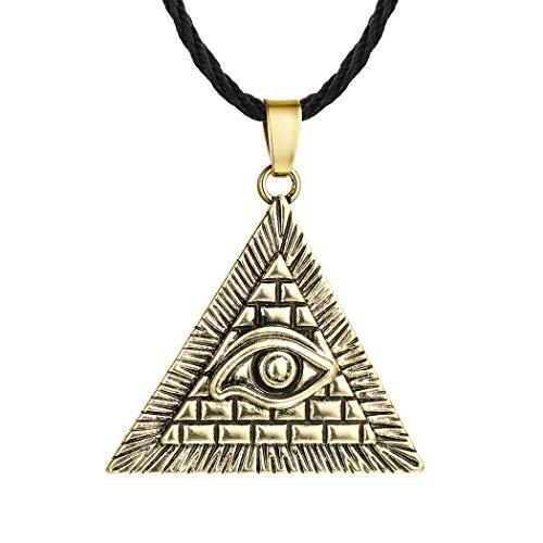 Egypt Pyramid Necklace, AILUOR Gold Eye of Horus Evil Eye Illuminati Antique Charm Pendant Jewelry Unisex (Gold)