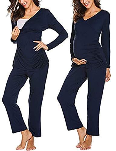 MAXMODA Damen Lange Stillpyjama Baumwolle Stillnachthemd Schlafanzug für Schwangere Umstandsmode Navy Blau XL