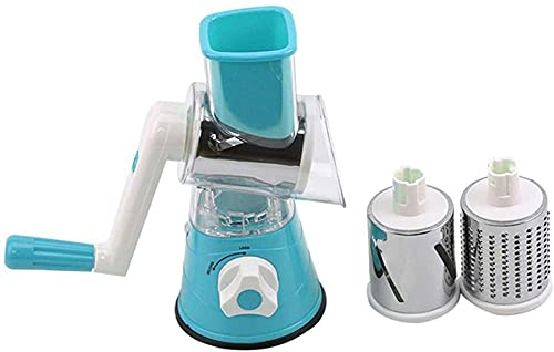 Rallador de tambor redondo rotativo de queso rallador de verduras cortador de zanahoria vegetal trituradora de nueces, picador azul