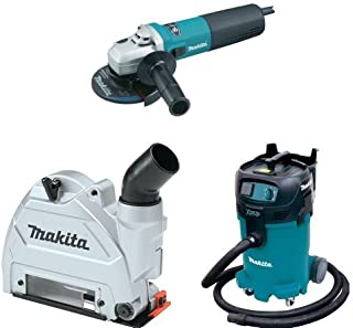 Makita 9565CV 5-Inch SJS High-Power Angle Grinder, 196846-1 Dust Extraction Tuck Point Guard, & VC4710 12 Gallon Xtract Vac Wet/Dry Dust Extractor/Vacuum