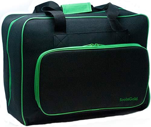 foolsGold Bolsa Acolchada para Transportar la Máquina de Coser (Negro/Verde)