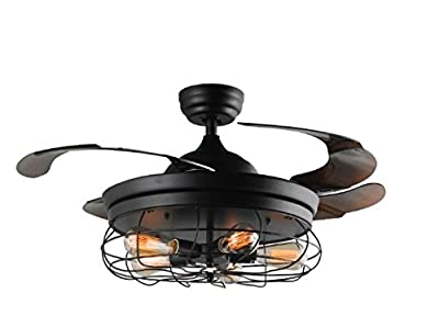 42'' Ceiling Fans Invisible Retractable Blades Farmhouse Industrial Pendant Lamp Chandelier Remote Control 5 Edison Bulbs (Black Finish) (Youtube Video Demo)