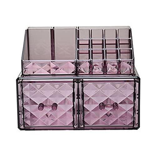 YIPON Transparente patrón de diamante caja de almacenamiento cosmética joyería multicapa lápiz labial cuidado de la piel productos titular dormitorio escritorio organizador