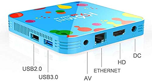 Caja de TV Smart Set Top Box, Home Box TV, Android 9.0 Memoria de 4 GB + 32 GB Procesador Core 4 6K Player Red de Cine en casa y Jugar Juegos,Azul