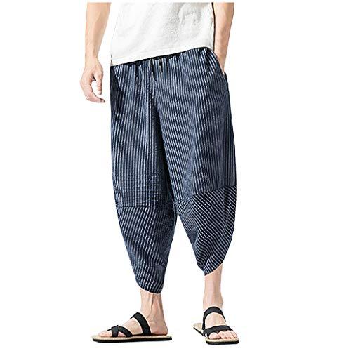 Dasongff Harem - Pantalones cortos para hombre, tipo sarouel, boho, hippie 3/4