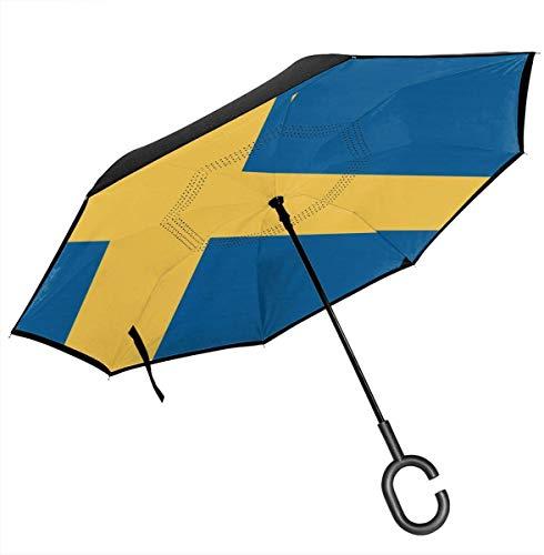 Big Stick Reverse Umbrella Inside Out Regenschirm 2-lagig Faltbarer, winddichter UV-Schutz Selbstständer Mit C-förmigem Griff Innen Flagge von Schweden Aufdruck Für Auto Regen Outdoor 8 Skelett