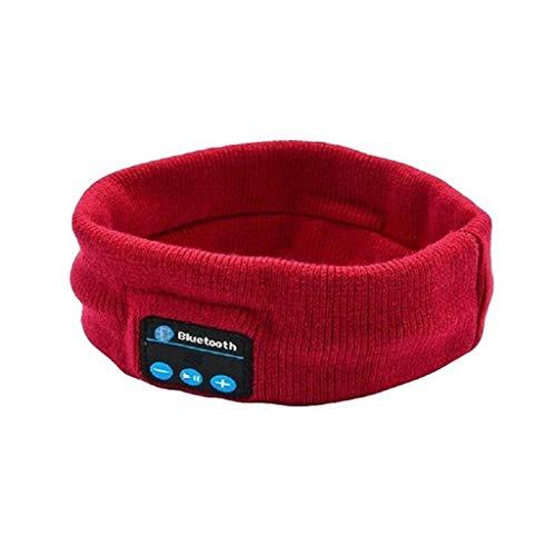 GSPORTFIS Auriculares estéreo Bluetooth inalámbrico Ejecutar auriculares Sleep Headset Deportes Durmiente música DIEADA Moda (Color : Red)