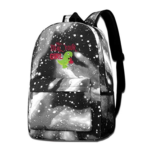 AOOEDM Dinosaur Valentine's Day - Mr. Steal Your Girl Heart Fashion Starry Sky School Backpack Suitable for Travel Daypack Casual Bags