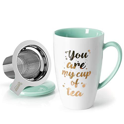 Sweese 201.210 Teetasse mit Deckel und Sieb, Becher aus Porzellan für Losen Tee Oder Beutel, You Are My Cup of Tea, Minzgrün, 400 ml