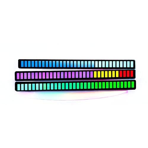 FENGCHUANG Luces de ritmo activadas por voz, luces LED coloridas RGB, luces creativas para decoración de coche, con 32 cuentas de lámpara coloridas, 18 modos de color ajustables