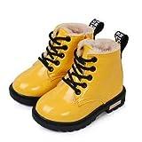 Youpin Botas para niños para niños, talla 21 – 37, botas Martin para niña, de piel sintética, impermeables, para invierno, para niños, botas de nieve (color: piel amarilla, talla de zapato: 32)