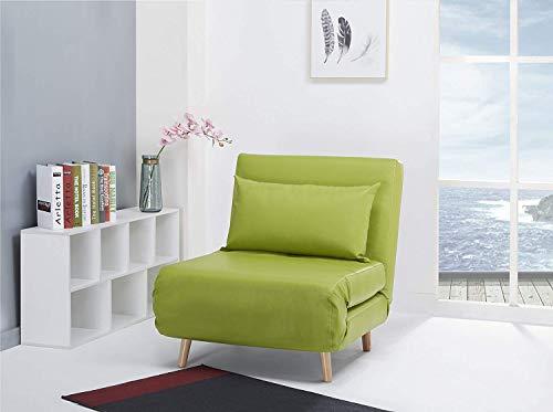 ARTDECO Schlafsessel Jugendsessel Gästebett Kindersessel Klappsessel Kunstleder (mit Beinen schlank, grün)
