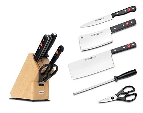 Wüsthof Messerblock 5-teilig, Gourmet (9835-8), massiver Holzblock, helle Buche, Küchenmesser Set inkl. 3 Kochmesser, Wetzstahl und Schere
