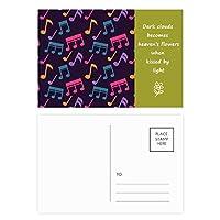 カラフルな音楽ブラックノート 詩のポストカードセットサンクスカード郵送側20個