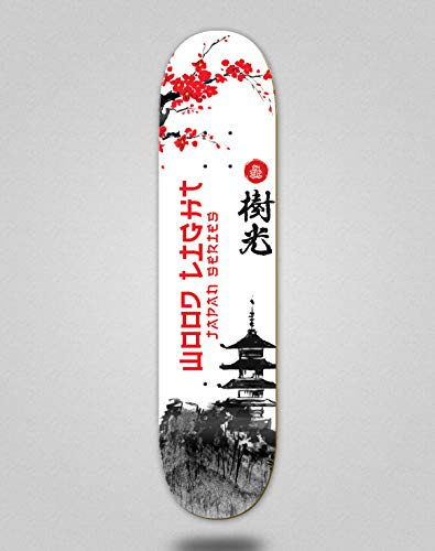 Wood light Monopatín Skate Skateboard Deck Tabla Japan Series Palace (8.5)