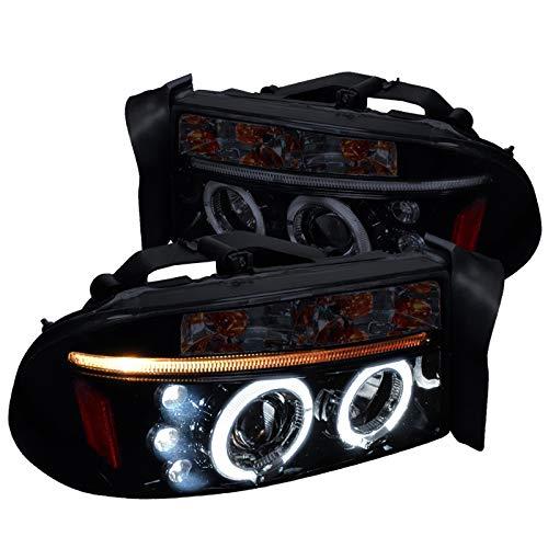 Spec-D Tuning Led Dual Halo Glossy Black Housing Smoke Lens Projector Headlights for 1997-2004 Dodge Dakota Durango Head Light Assembly Left + Right Pair