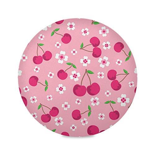Juego de manteles individuales redondos de cerezo con diseño de flores, antideslizante, resistente al calor, lavable, para mesa de comedor, cocina, decoración del hogar