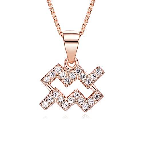 Anwaz 925 Sterling Silber Damen Halskette Wassermann Form Design Anhänger Damenkette Silberkette Aquarius mit Weiß Zirkonia
