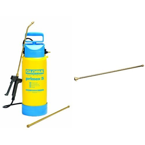 Gloria Drucksprüher Drucksprühgerät 5Liter mit Messing-Verlängerungsrohr Primex, gelb + Messing-Verlängerungsrohr