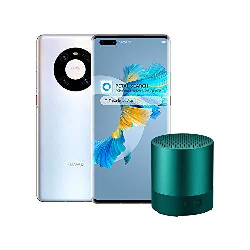 """Huawei Mate 40 Pro 5G con Bluetooth Speaker, Kirin 9000 5G SoC a 5nm, Fotocamera Ultra Vision Leica da 50 MP, Huawei SuperCharge da 66W, Display Curvo da 6.76"""", 8 GB + 256 GB, Silver/Argento"""