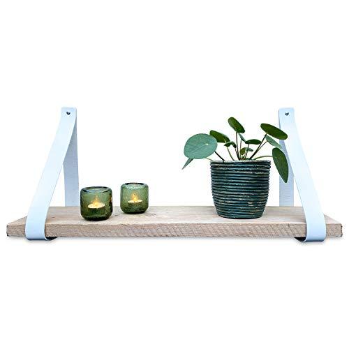 Brete Strength plankdrager van leer | Wit | 2 stuks | 100% volnerfleer | plankhouder leer plankhouder | lederen plankdrager | wandplank