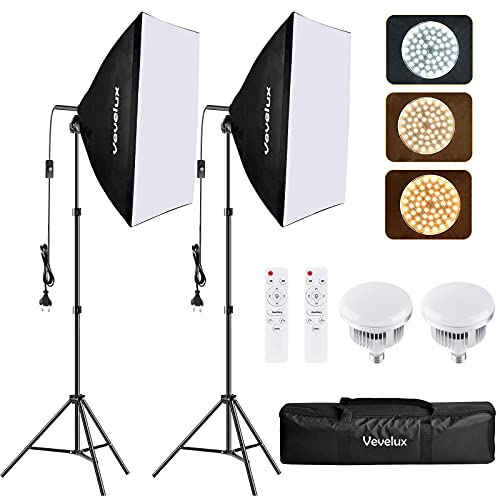 Vevelux Softbox Video Light con 2 Softbox 50x70cm, 2 LED Regulables 95W 3000K-5500K, 2 Mandos a Distancia, Softbox Photo Studio Kit de iluminación para Retrato, Productos comerciales y Video