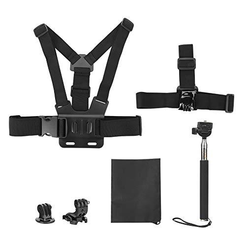 Kit de accesorios para cámara de acción 5 en 1, kit de accesorios para cámara de acción universal con soporte para correa para la cabeza / arnés para el pecho / palo para selfies para cámaras deportiv
