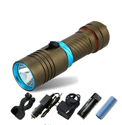 1 Pack 10W Cree XML LED Flashlight Underwater Scuba Diving Waterproof Tactical Torch Famed Popular Quick Coast High Lumen Lumens Brightest Light Holder Camping Flashlights, Type-08