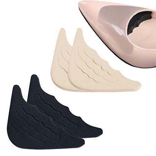 2 Paar Schuhfüller Schuhpads Zehen Einlegesohlen Vorfuß/Zehen Einlegesohlen Schmerzlinderung Polster für zu große Schuhe (Schwarz & Fleischfarbig)