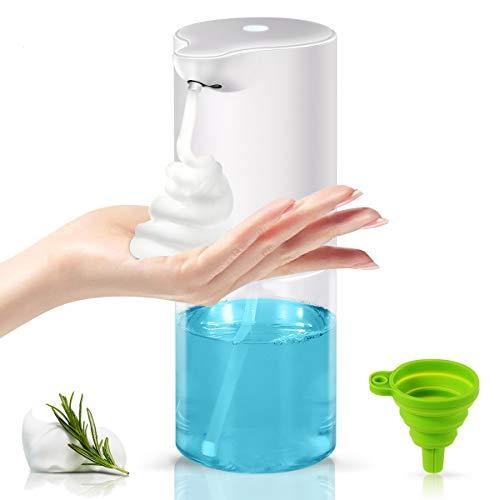 Dispensador de jabón automático de espuma sin contacto con sensor, dispensador de jabón eléctrico para cocina y baño, 320 ml, botella transparente, color blanco