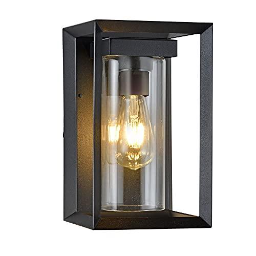 Wonderlamp - Aplique de pared exterior Road, 1xE27, Máx. 60 W, IP 23,Aplique pared Vintage, Rectangular con cristal, Negro