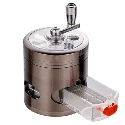 MyOptim Hand Cranked Herb Grinder, 2.5 Inch Gray Spice Grinder with Drawer, Zinc Alloy Metal Weed Grinder with Pollen Scraper and Cleaning Brush, 4 Layers Grinder with Clear Top and Window