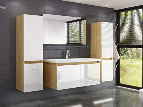 Badmöbel Set Eiche Weiss Leonard 60 cm Badezimmermöbel Hochschrank Waschtisch Spiegel Bad 6Teilig.